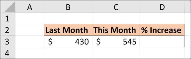 Données dans une feuille de calcul Excel pour calculer un pourcentage d'augmentation.