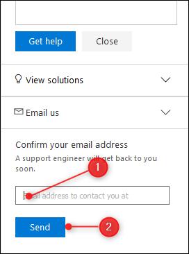 Le champ Adresse e-mail et le bouton Envoyer