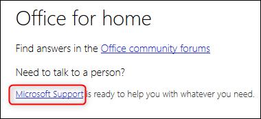 Le lien du support Microsoft