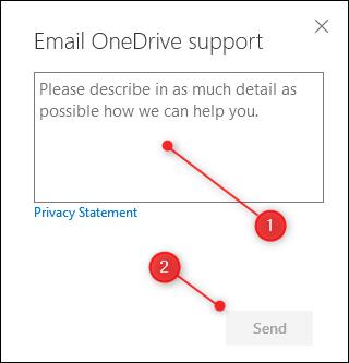 La zone de texte Informations et le bouton Envoyer