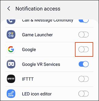 """Appuyez sur le bouton à côté de """"Google"""" pour autoriser les notifications."""