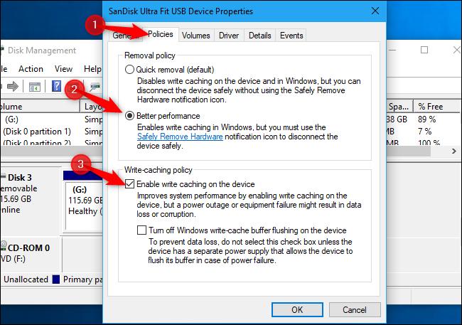 Activation de la mise en cache en écriture pour le stockage externe sous Windows 10