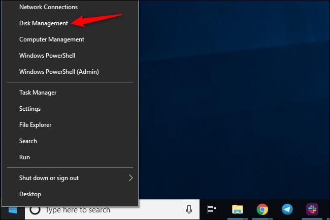 Lancement de la gestion des disques sur Windows 10