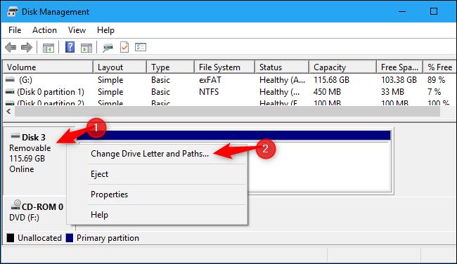 Ouverture des propriétés d'un périphérique de disque dans Windows 10