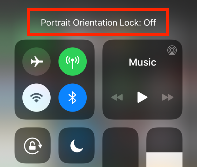 Le message de verrouillage de l'orientation portrait désactivé affiché sur l'iPhone