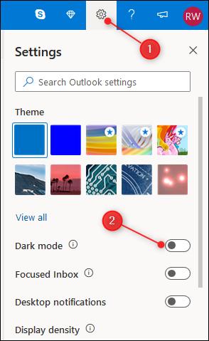 """Le panneau Paramètres Outlook avec le """"Mode sombre"""" bascule en surbrillance."""