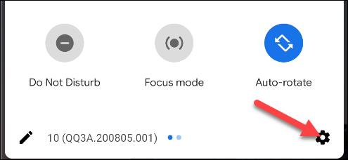 raccourci des paramètres Android