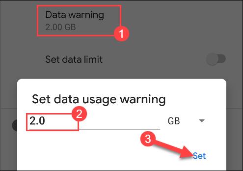 entrez un nombre pour l'avertissement d'utilisation des données