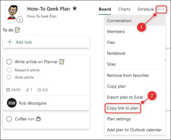 """Le """"Copier le lien vers le plan"""" option dans le menu Planificateur."""
