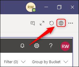 Le lien vers l'application Planner, affiché sous forme de globe dans la barre d'outils.