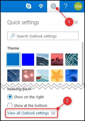 """Les perspectives """"Réglages rapides"""" panneau avec """"Afficher tous les paramètres Outlook"""" Souligné."""