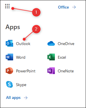 Le lanceur d'applications O365 avec Outlook en surbrillance.