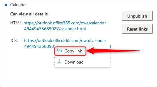 """Les liens HTML et ICS avec le """"Copier le lien"""" option mise en évidence."""