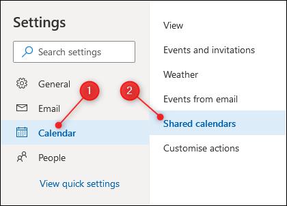 Paramètres du calendrier Outlook avec les paramètres du calendrier partagé en surbrillance.