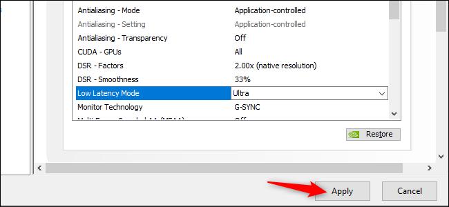 Activation du mode Ultra Low Latency dans les pilotes graphiques GeForce de NVIDIA