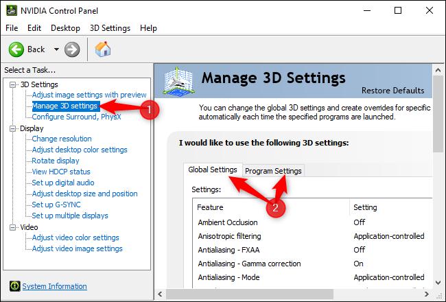 Gestion des paramètres 3D dans le panneau de configuration NVIDIA