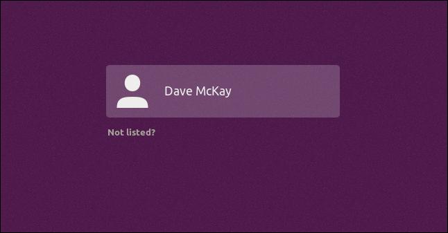 écran de sélection de l'utilisateur avec barre de surbrillance violette