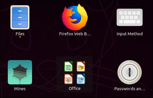 Icônes LibreOffice regroupées dans l'aperçu de l'application