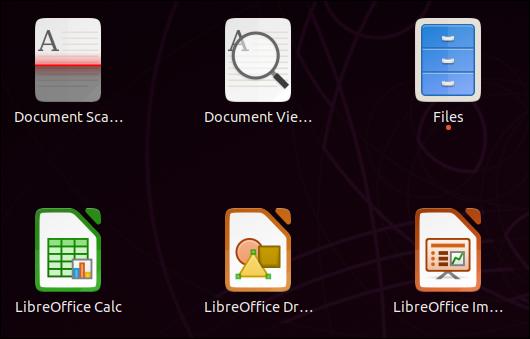 Icônes séparées pour les applications LibreOffice dans l'aperçu de l'application