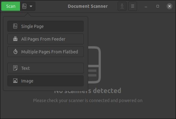 Application Scanner de documents avec menu affiché