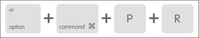 Raccourci clavier macOS pour réinitialiser la NVRAM / PRAM