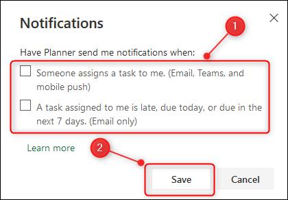Les options de notifications du planificateur.
