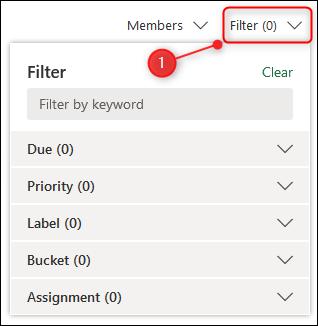 """Le """"Filtre"""" option."""