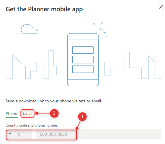 """Le """"Téléchargez l'application mobile Planner"""" panneau."""