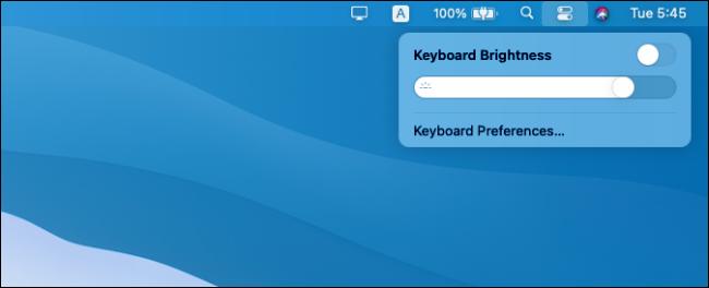 Commandes de luminosité du clavier dans macOS Big Sur.