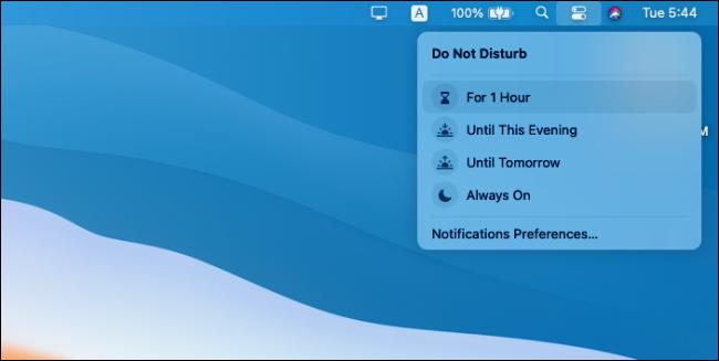Options Ne pas déranger dans le Centre de contrôle Mac.