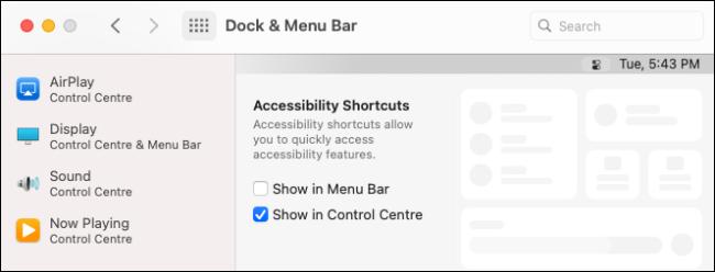 Personnalisation du centre de contrôle macOS dans les paramètres.