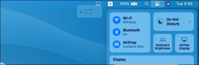 Ajout de raccourcis du Centre de contrôle macOS à la barre de menus.