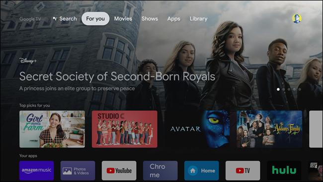 L'écran d'accueil de Google TV.