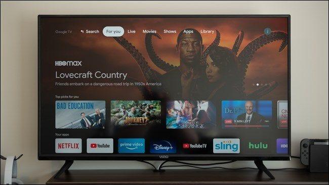 L'écran d'accueil sur un Chromecast avec Google TV.