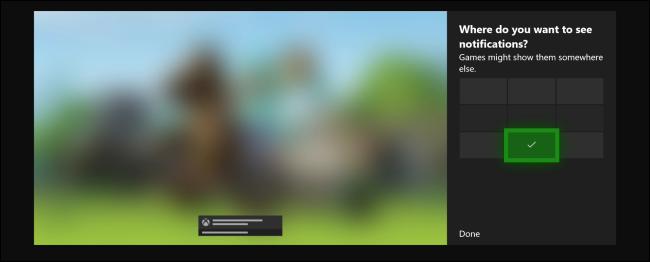 Position de notification par défaut de la Xbox One