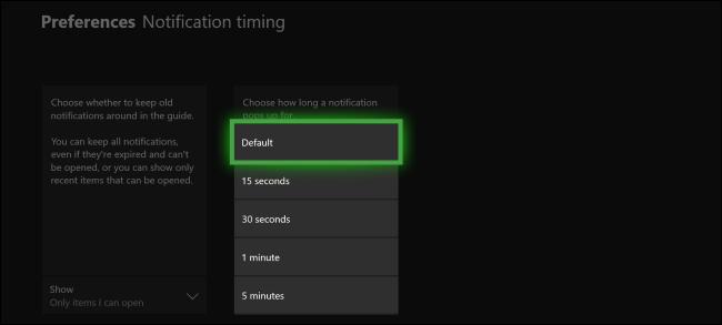 Durée de la notification Xbox One