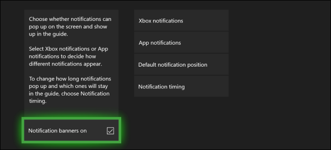 Menu Notifications Xbox One