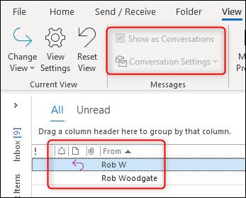 Les options de conversation d'Outlook sont grisées.