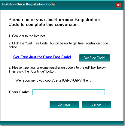 Code d'enregistrement