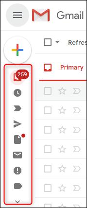 Barre latérale de Gmail en mode contracté.