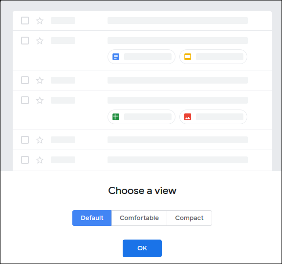 """Le """"Choisissez une vue"""" menu dans Gmail."""