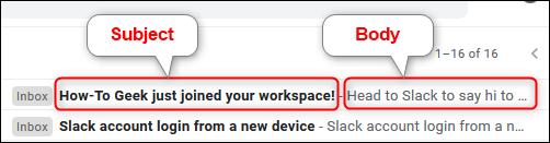 Aperçu de l'objet et du corps d'un e-mail dans le paramètre Gmail par défaut.