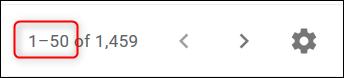 """L'application Gmail indiquant qu'elle s'affiche """"1-50 sur 1459"""" e-mails."""
