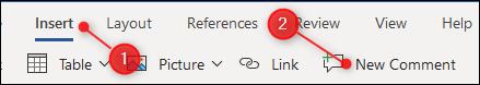 """Le """"Nouveau commentaire"""" option dans le menu Insertion."""