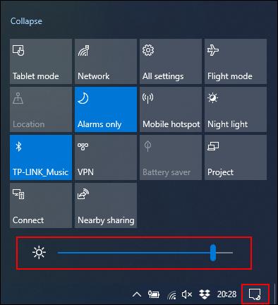Cliquez et déplacez le curseur Luminosité vers la gauche pour réduire la luminosité de l'écran.