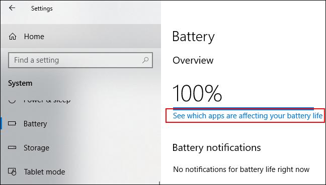 """Cliquez sur """"Voir quelles applications affectent la durée de vie de votre batterie."""""""