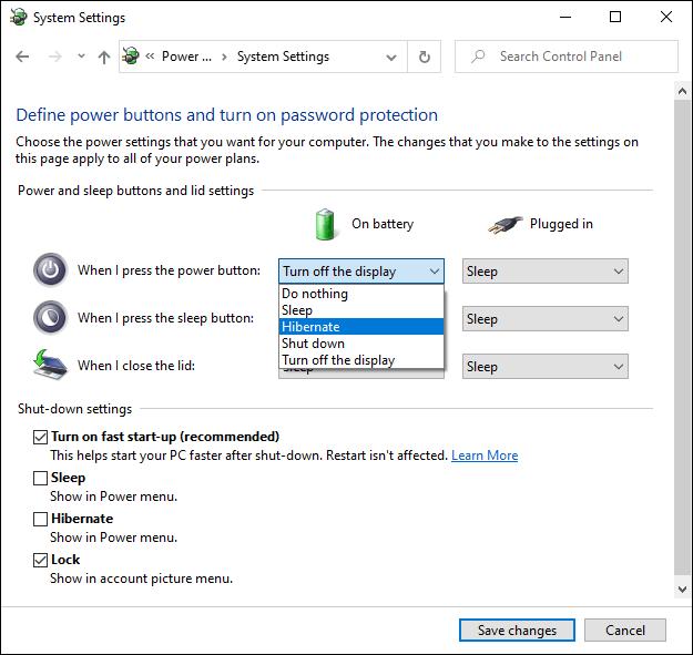 Le menu Paramètres d'alimentation avancés de Windows 10.