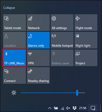 Cliquez sur la vignette Bluetooth pour l'activer ou la désactiver.