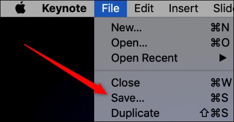 """Cliquez sur """"Déposer,"""" puis cliquez sur """"Sauvegarder"""" dans Keynote."""