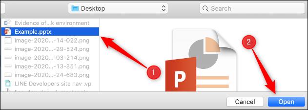 """Accédez au fichier PPTX et sélectionnez-le, puis cliquez sur """"Ouvert."""""""